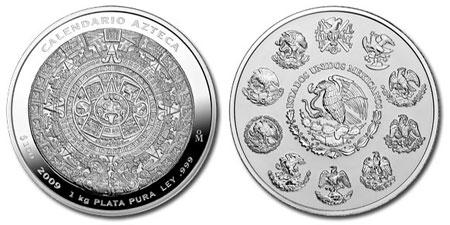 2009 Aztec Calendar Silver Coin