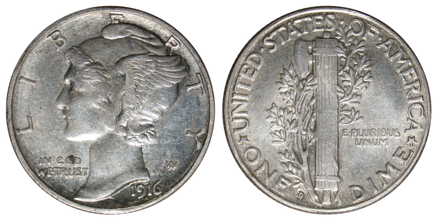 This counterfeit 1916-D Winged Liberty Head dime was sold online.  Photo credit: Numismatic Guaranty Corporation.