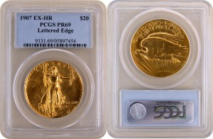 1907 Ultra High Relief Saint Gaudens Double Eagle Gold Coin images courtesy of Expos Unlimited
