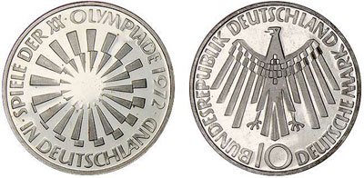"1972 Munich Olympic silver coin ""In Deutschland"""