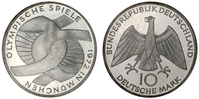 "1972 Munich Olympic Silver Coin ""Schleife"""