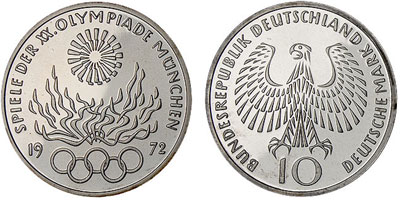 "1972 Munich Olympic Silver Coin ""Flame"""