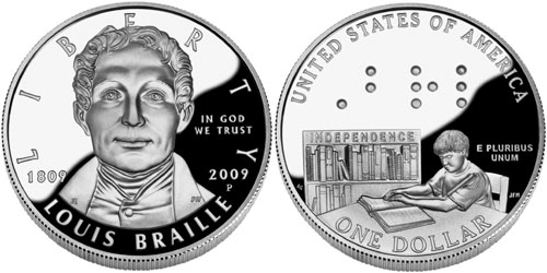 Louis Braille Proof coin