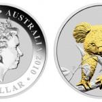 2010 Australian Silver Koala Gilded Coin