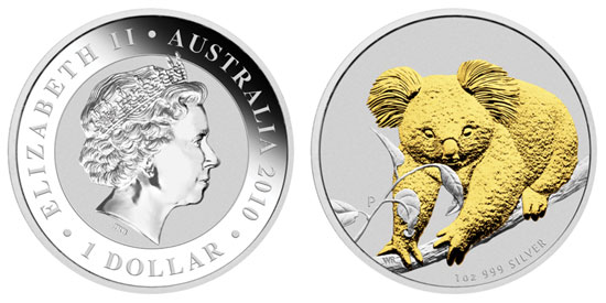 2010 Gilded Silver Koala