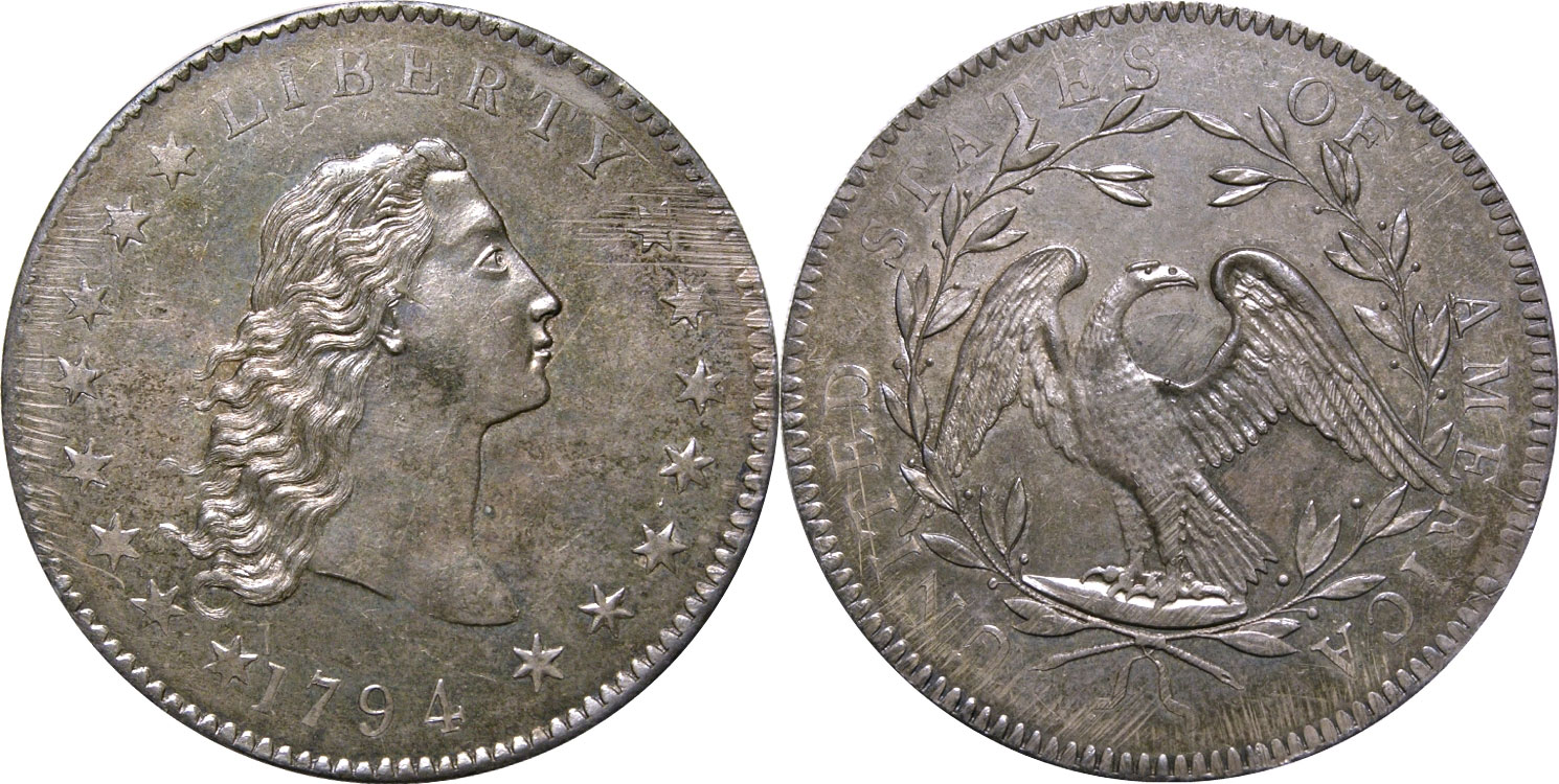 The Neil/Carter/Contursi specimen 1794 Flowing Hair dollar, graded PCGS SP66. Photo: Rare Coin Wholesalers