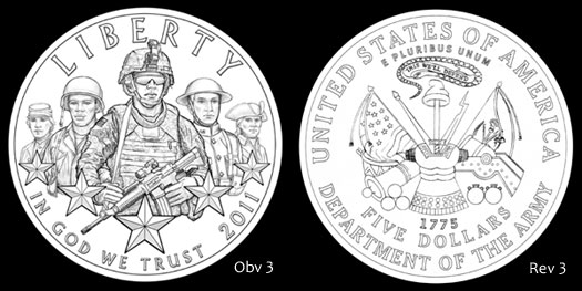 Design Recommended by CCAC for the 2011 Army Commemorative $5 Gold Coin