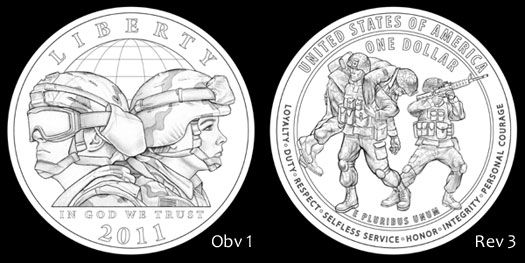 Designs Recommended by the CCAC for the 2011 Army Commemorative Silver Dollar