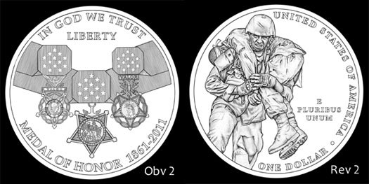 Designs Recommended by CCAC for 2011 Medal of Honor Silver Dollar