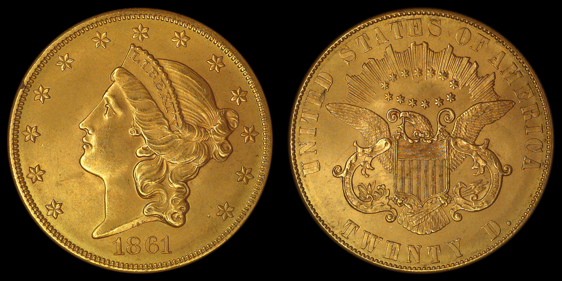 "1861 Philadelphia Mint ""Paquet Reverse"" Liberty DOUBLE EAGLE, graded ..."