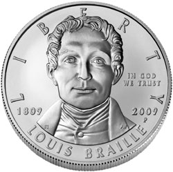 2009 Louis Braille Silver Dollar