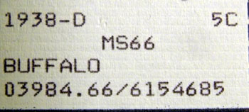 PCGS label