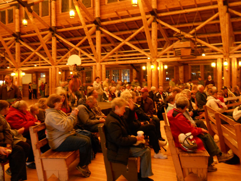 The lauch ceremony held within the Old Faithful Lodge Recreation Hall.