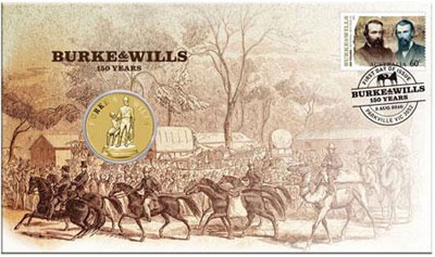 Burke & Wills Stamp and Coin Cover