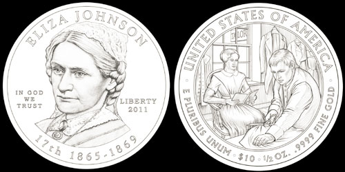 Elza Johnson First Spouse Gold Coin (CCAC recommended designs)
