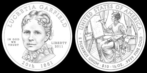 Lucretia Garfield First Spouse Gold Coin (CFA recommended designs)