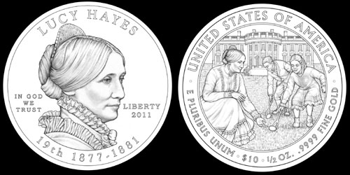 Lucy Hayes First Spouse Gold Coin (CCAC recommended designs)