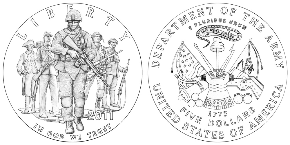 Designs for 2011 Army Commemorative Coins Announced | Coin
