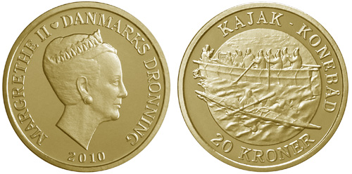 Royal Danish Mint Issues Umiak Kayak 20 Kroner Coin
