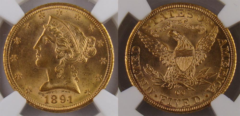 1891-CC Liberty Half Eagle
