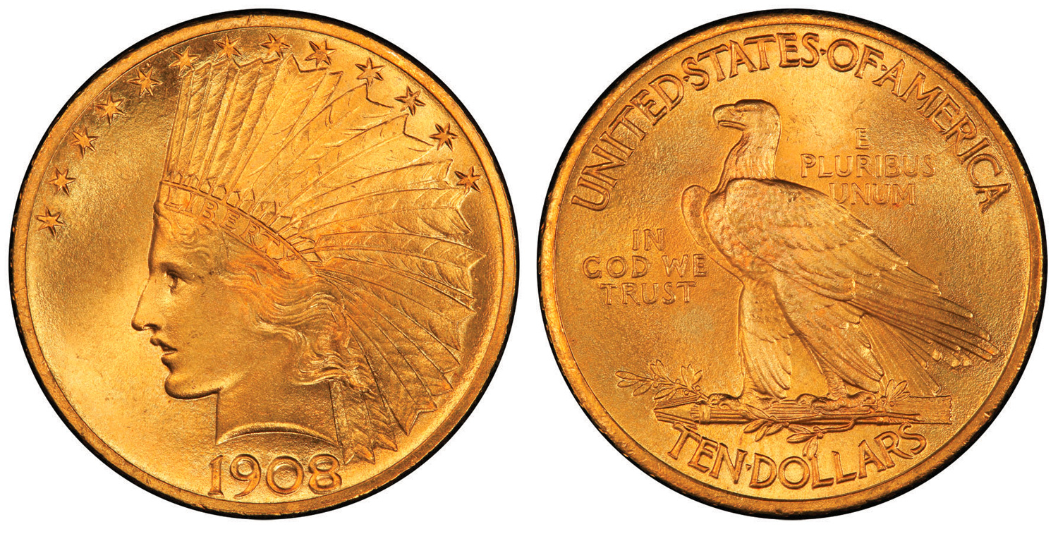 1908 motto $10 Eagle, PCGS Secure Plus MS68+, Photo: PCGS