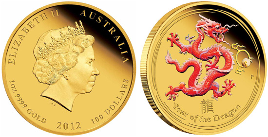 2012 Year of the Dragon Gold Proof Colored Coins Available ...