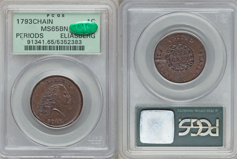 1793 Chain Cent PCGS MS65BN CAC