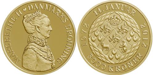 Quuen Margrethe II 40th Jubilee Gold Coin