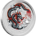 Perth Mint Black and Red Colored 2012 Year of the Dragon Silver Coin