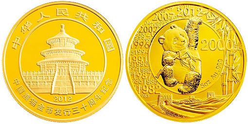 2000 Yuan Obverse The Figure Of A Seated Panda With Elements Great Wall And Bamboos Background Montage All Years Which