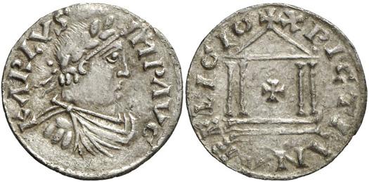 1405: CAROLINGIANS. Charlemagne (768-814). Denarius 800 or 812. Depeyrot 1166. M./G. 317. Of utmost rarity, about EF. Estimate: 30,000 euros, hammer price: 160,000 euros.