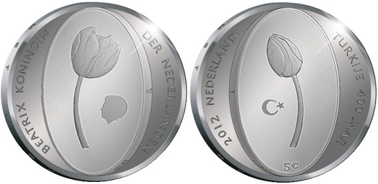 2012 Tulips Five Euro Silver Coin