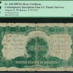 Titanic Survivor's Dollar Bill Certified by PCGS Currency