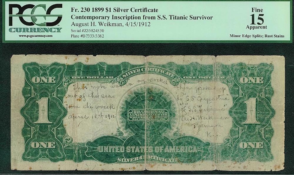 PCGS Currency - Titanic Survivor\'s Dollar Bill Certified