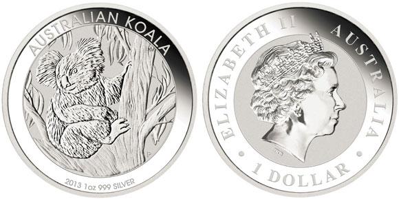 Perth Mint 2013 Australian Koala Silver Bullion Coins