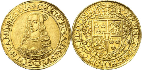 "7053: SWEDEN. Christina (1632-1654). 10 ducats 1645, Riga. Ahlström 30 (XR, this specimen). Fb. 926 (""Very rare""). Hagander 198. Neumann –. 6th known example and 3rd example in private possession. Fine gold patina, VF-EF. Estimate: 30,000 euros."