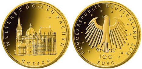 Cathedral of Aachen 100 Euro Gold Coin