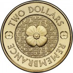 """Royal Australian Mint """"Red Poppy"""" Remembrance Day $2 Coin"""