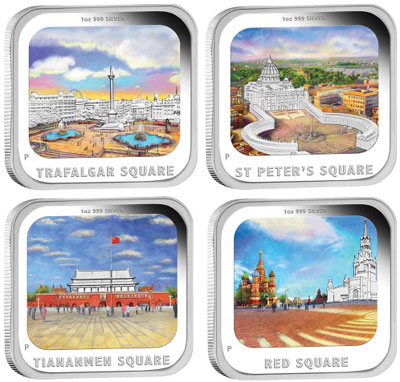 2013 Famous World Squares 4 Coin Silver Proof Set