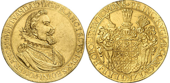 224, lot 1133: POMERANIA. Franz (1618-1620). 10 ducat piece n. y., Stettin. Fb. 2096. Unique specimen from the estate of the duke of Croy. From the Carl Friedrich Pogge Collection, auction sale Hamburger 36 (1903), 978. Mount mark. Good very fine. Estimate: 20,000 euros. Hammer price: 70,000 euros.
