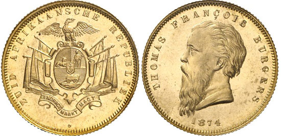 223, lot 162: SOUTH AFRICA. Republic of South Africa. Pound 1874. Fb. 1 a. Splendid specimen, mintage: only 174 specimens. From Hirsch Mynthandel 19 (1981), 333. About mint state. Estimate: 30,000 euros. Hammer price: 110,000 euros.