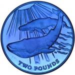 Alluring Blue Titanium Coin Features Blue Whale