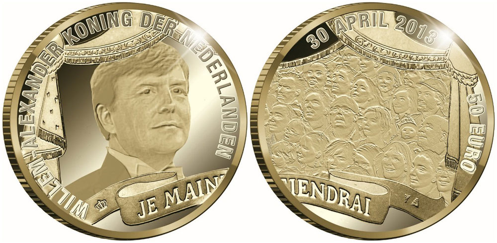 Gold And Silver Coins Issued For Investiture Of King Willem