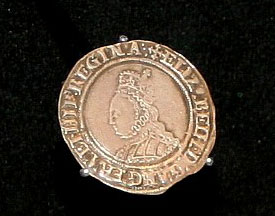Shilling of Queen Elizabeth I included in the exhibition, it is said the Queen herself struck some gold coins during her historic visit to the Mint in 1561.