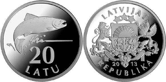 Latvia 20 Lats Silver Salmon