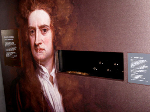 Sir Issac Newton, one of the more well-known Mintmasters is featured prominently in the new exhibition.