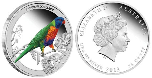 Rainbow Lorikeet Silver Coin