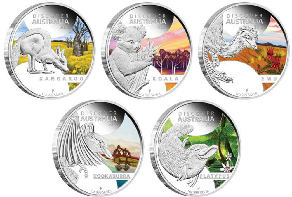 Perth Mint 2013 Discover Australia Silver Proof Coins