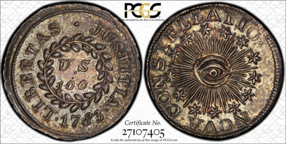 "One of three known silver 1783 Nova Constellatio 100 Units (""Mark""), graded PCGS PR66.  (Photo courtesy of PCGS.)"