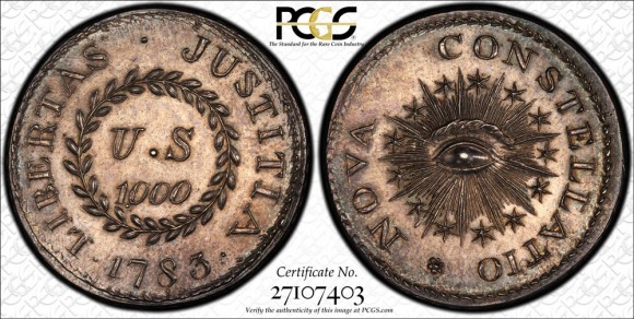 The unique silver 1783 Nova Constellatio 1000 Units, graded PCGS PR65+.  (Photo courtesy of PCGS.)
